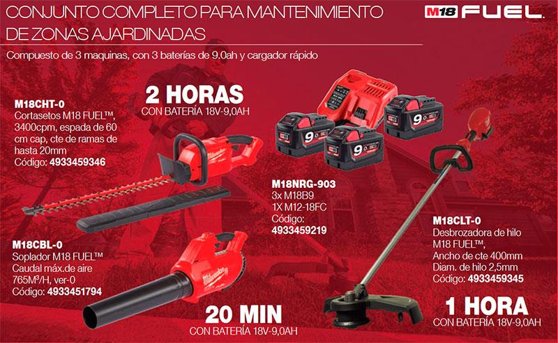 M18CHT-0 + M18CBL-0 + M18NRG-903 + M18CLT-0 - Compuesto de 3 maquinas, con 3 baterías de 9.0ah y cargador rápido